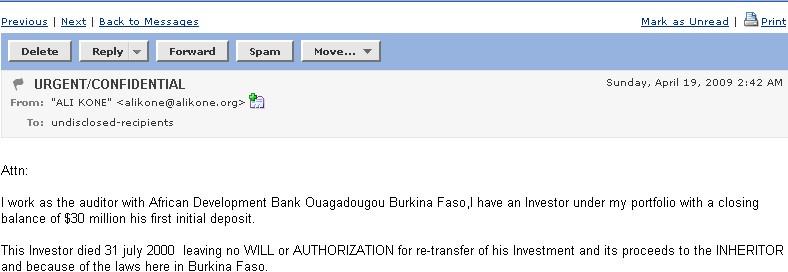 spam fraud from Burkina Faso