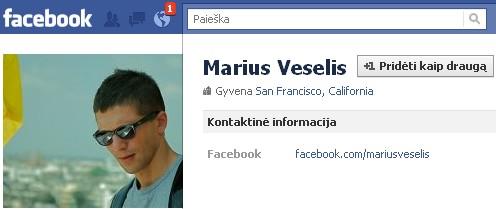 "Marius Veselis ""Facebook"" profilis"