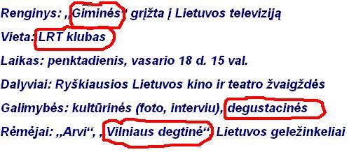 """DEGUSTACIJA: Į LTV GRĮŽTA """"GIMINĖS"""""""