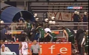 Panathinaikos team leaving Olympiacos Arena
