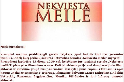 """SUNKUS NOKAUTAS LNK: """"NEKVIESTA MEILĖ"""" BUS RODOMA TV3 BANGOMIS"""