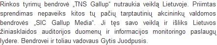 """LIETUVIŠKA """"TNS GALLUP"""" MIRTIS: DU SIC'ai IR JOKIO AIŠKUMO"""